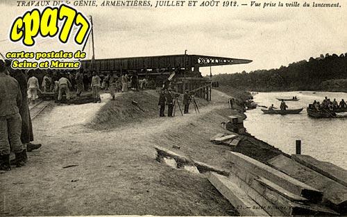 Armentières En Brie - Travaux du 5e Génie, Armentières, juillet et août 1912. Vue prise la veille du lancement