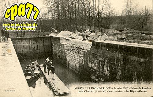 Chalifert - Après les inondations - Janvier 1910 - Ecluse de Lesches près Chalifert - Vue intérieure des Dégats (Ouest)