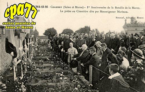 Chambry - La Guerre 1914-15-16 - 1er Anniversaire de la Bataille de la Marne. La prière au Cimetière dite par Monseigneur Marbeau.