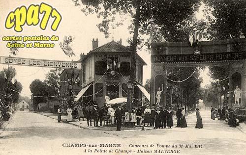 Champs Sur Marne - Concours de Pompe du 31 Mai 1914 - A la Pointe de Champs - Maison Malverge