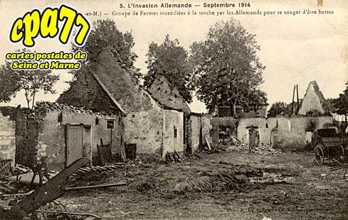 Courtacon - L'Invasion allemande - Septembre 1914 - Groupe de Fermes incendiées