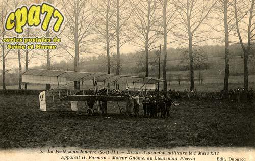 La Ferté Sous Jouarre - Escale d'un avion militaire le 1 Mars 1912 - Appareil H. Farman - Moteur Gnôme, du Lieutenant Pierrat