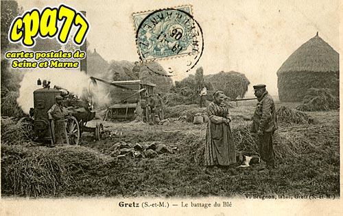 Gretz Armainvilliers - Le battage du Blé (rare)