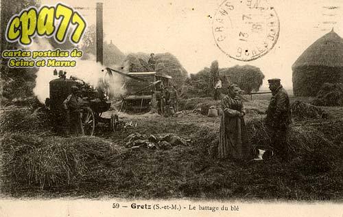 Gretz Armainvilliers - Le battage du blé