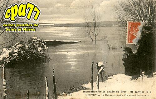 Jaulnes - Neuvry - L'inondation de la Vallée de Bray - 24 Janvier 1910 - La Route de Provins à Mouy-sur-Seine