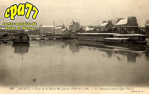 Meaux - Crue de la Marne 26 Janvier 1910 (6m20) - Les Bateaux-Lavoirs Quai Thiers