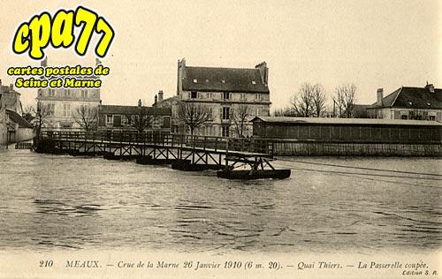 Meaux - Crue de la Marne 26 Janvier 1910 (6,20m) - Quai Thiers - La Passerelle coupée