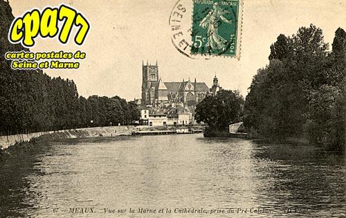 Meaux - Vue sur la Marne et la Cathédrale, prise du Pré-Catelan