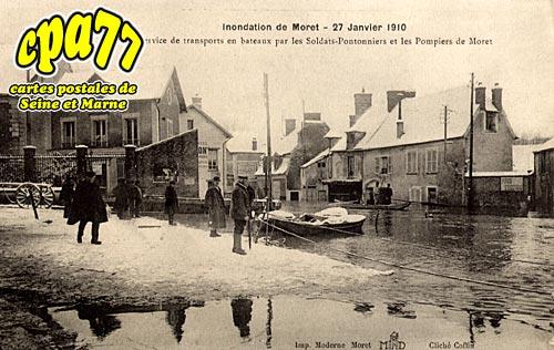 Moret Sur Loing - Inondation du 27 Janvier 1910 - Service de transports en bateaux par les Soldats-Pontonniers et les Pompiers de Moret