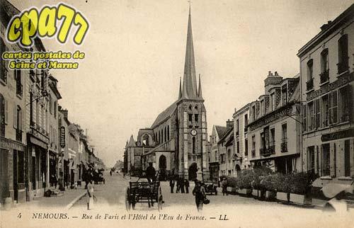 Nemours - Rue de Paris et l'Hôtel de l'Ecu de France