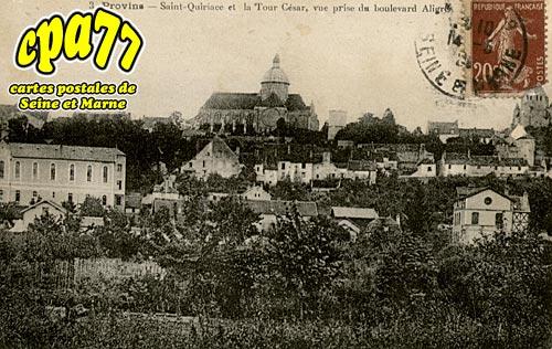 Provins - Saint-Quiriace et la Tour César, vue prise du Boulevard Aligre (en l'état)