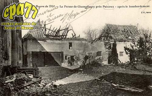 Puisieux - Guerre de 1914 - La Ferme de Champfleury près Puisieux - Après le bombardement