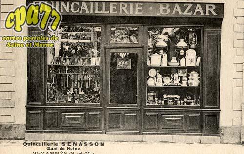 carte postale ancienne de st mamm s 77 quincaillerie senasson quai de seine. Black Bedroom Furniture Sets. Home Design Ideas