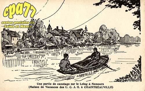 St Pierre Lès Nemours - Une partie de canotage sur le Loing à Nemours (Maison de Vacances des U.C.J.G. à Chaintréauville)