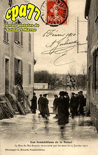 Samois Sur Seine - Les Inondations de la Seine - La Rue du Bas-Samois recouverte par les eaux le 25 janvier 1910