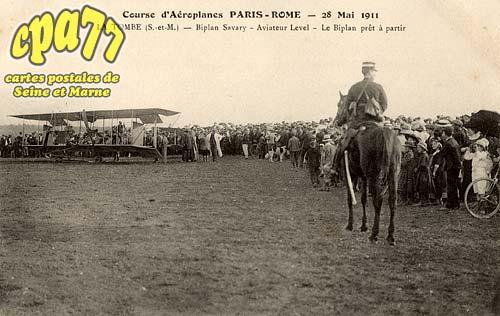 La Tombe - Courses d'aéroplanes Paris-Rome - 28 Mai 1911 - Biplan Savary - Aviateur Level - Le Biplan prêt à partir